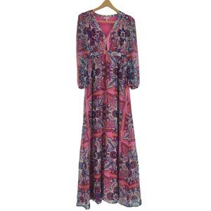 Juicy Couture Large Floral Mosaic Pink Print Maxi